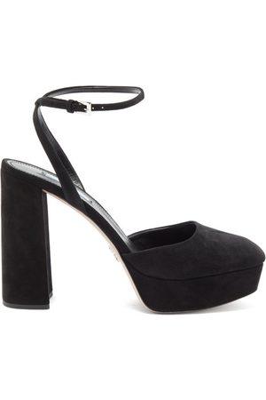 Prada Women Sandals - Square-toe Suede Platform Sandals - Womens