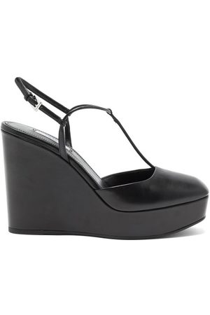 Prada Square-toe T-bar Leather Wedges - Womens