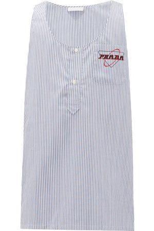 Prada Men Shirts - Striped Logo-print Cotton Shirt - Mens