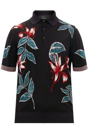Prada Floral-intarsia Wool-blend Polo Shirt - Mens