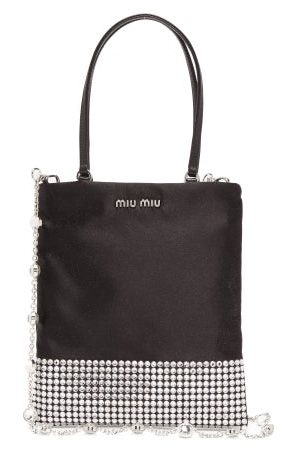 Miu Miu Crystal-embellished Satin Bag - Womens - Multi