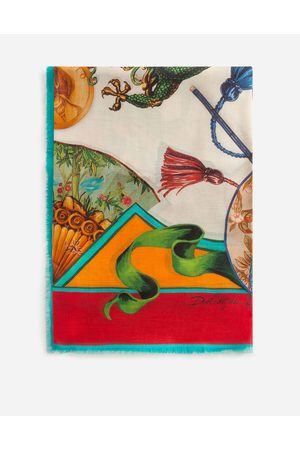 Dolce & Gabbana Scarves and Silks - SCARF IN MODAL AND CASHMERE WITH SILK ROAD PRINT: 140 X 140CM- 55 X 55 INCHES
