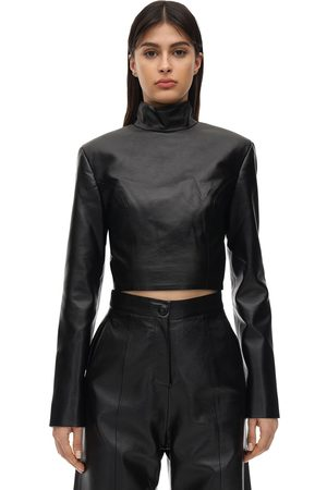 MATÉRIEL by Aleksandre Akhalkatsishvili Cropped Faux Leather Top