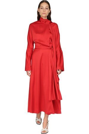 Sies marjan Satin Crepe Envers Midi Dress W/ Scarf