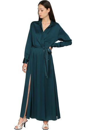 Sies marjan Satin Crepe Envers Wrap Shirt Dress