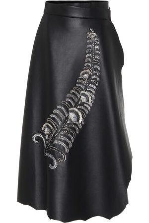 Prada Sequined leather wrap midi skirt