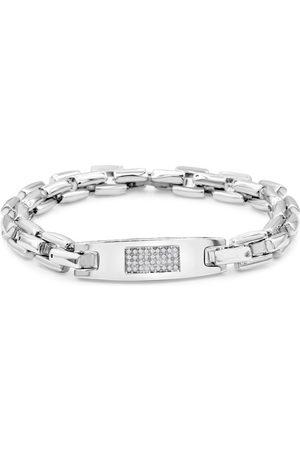 SuperJeweler Men Bracelets - .16 Carat Diamond Men's ID Bracelet in Stainless Steel, H/I, 8 Inch