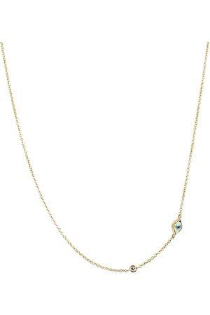 Sydney Evan Mini Evil Eye 14kt yellow and white diamond necklace