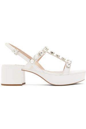 Miu Miu Crystal-embellished Patent-leather Sandals - Womens