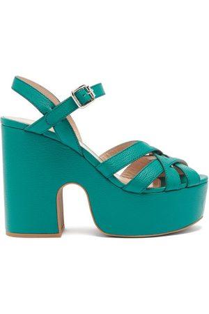 Miu Miu Women Sandals - Crossover-strap Leather Platform Sandals - Womens