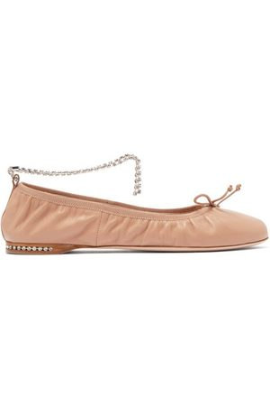 Miu Miu Crystal-anklet Leather Ballet Flats - Womens - Nude