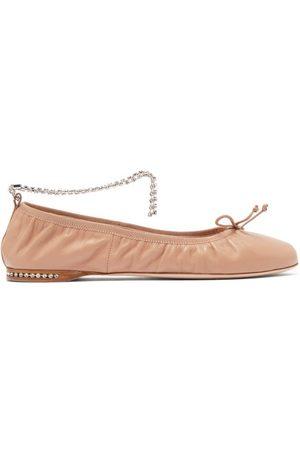 Miu Miu Women Ballerinas - Crystal-anklet Leather Ballet Flats - Womens - Nude