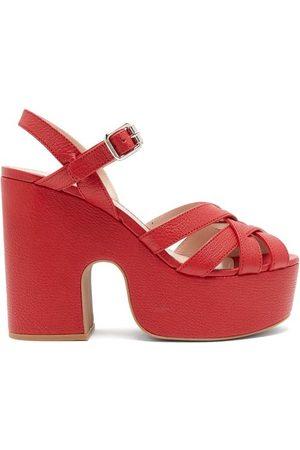 Miu Miu Crossover-strap Platform Leather Sandals - Womens
