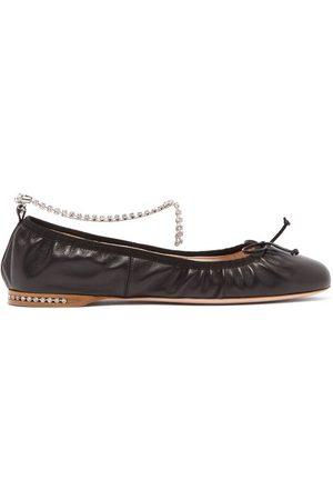 Miu Miu Women Ballerinas - Crystal-anklet Leather Ballet Flats - Womens
