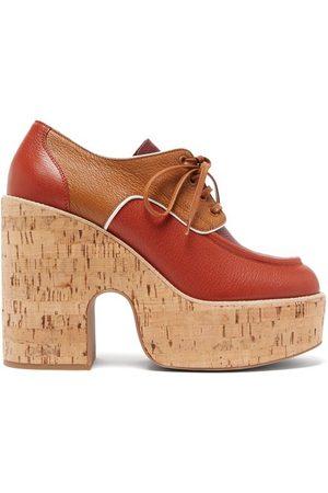 Miu Miu Grained-leather And Cork Platform Brogues - Womens