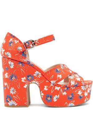 Miu Miu Women Sandals - Daisy-print Twill Platform Sandals - Womens