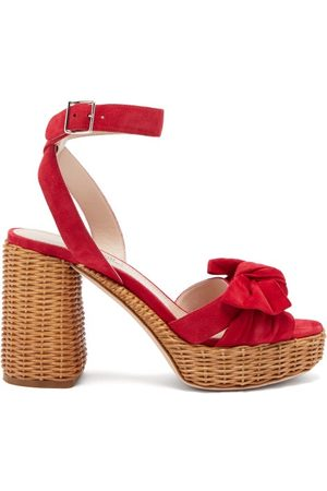 Miu Miu Women Sandals - Bow-front Suede And Wicker Platform Sandals - Womens