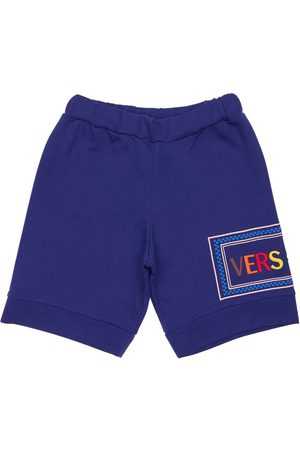 VERSACE Embroidered Logo Cotton Sweat Shorts