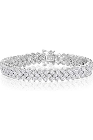 SuperJeweler 8 Inch 13 Carat Three Row Diamond Men's Tennis Bracelet in 14K (27 g), I/J