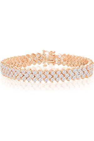 SuperJeweler Men Bracelets - 8 Inch 13 Carat Three Row Diamond Men's Tennis Bracelet in 14K Rose (27 g), I/J
