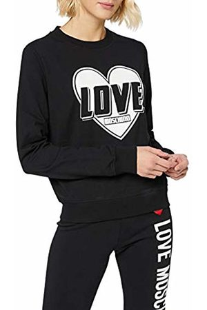 Love Moschino Women's Long Sleeve Fleece Heart & Turbo Logo Print_Ribbed Bottom & Cuffs Sweatshirt, C