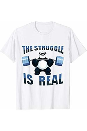 Wowsome! Panda Shirt The Struggle Is Real Weightlifting Fitness Gym T-Shirt
