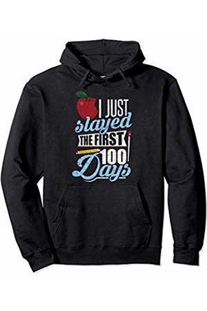100th Day Of School Tee Kaboom! 100th Day Of School Distressed I Just Slayed 100 Days Kids Pullover Hoodie