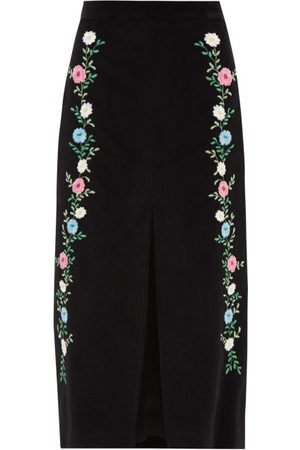 Miu Miu Front Slit Floral-embroidered Corduroy Skirt - Womens - Multi