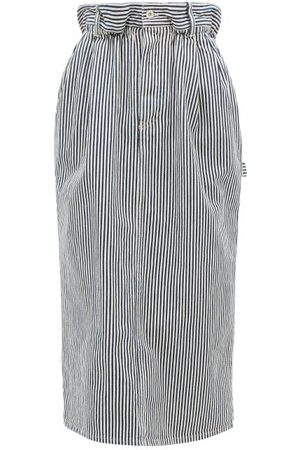 Miu Miu Paperbag-waist Logo-patch Striped Denim Skirt - Womens