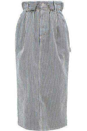 Miu Miu Women Denim Skirts - Paperbag-waist Logo-patch Striped Denim Skirt - Womens - Navy