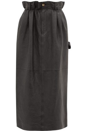Miu Miu Paperbag-waist Leather Midi Skirt - Womens
