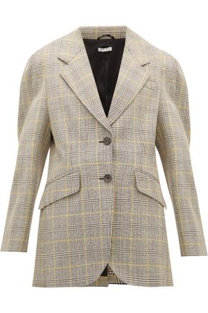 Miu Miu Prince Of Wales-check Virgin Wool Blazer - Womens - Multi