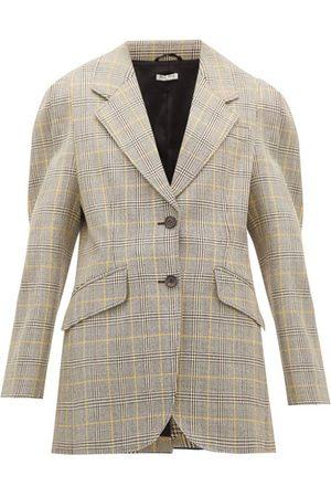 Miu Miu Women Coats - Prince Of Wales-check Virgin Wool Blazer - Womens - Multi