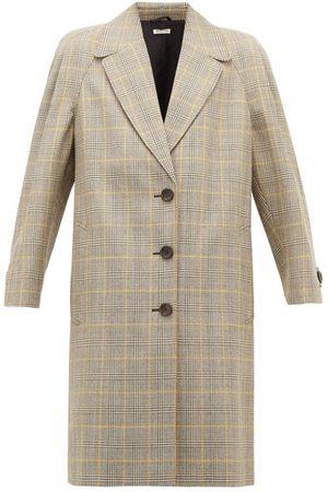 Miu Miu Prince Of Wales-check Virgin Wool Coat - Womens - Multi