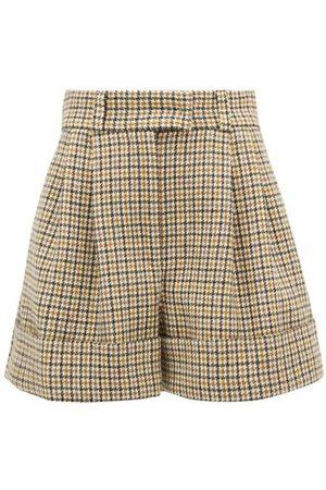 Miu Miu Pleated Houndstooth Wool Shorts - Womens