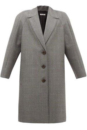 Miu Miu Houndstooth Virgin Wool Single-breasted Coat - Womens