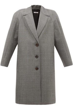 Miu Miu Women Coats - Houndstooth Virgin Wool Single-breasted Coat - Womens