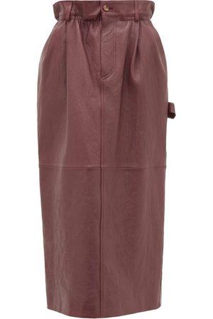 Miu Miu Women Leather Skirts - High-rise Paperbag-waist Leather Midi Skirt - Womens - Dark