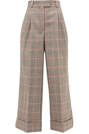 Miu Miu Women Wide Leg Trousers - Prince Of Wales-check Wool Wide-leg Trousers - Womens - Multi