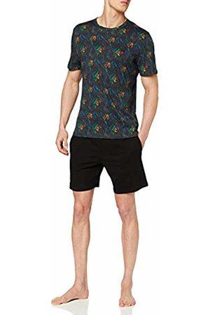 Hom Men's Dark Botanic Short Sleepwear Pajama Set