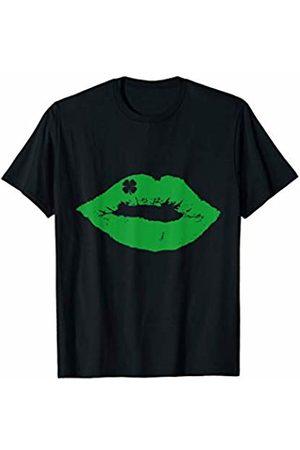 Funny St Patricks Day Shirts Shamrock Shirts Women St. Patricks Day Shirt Women Men Kiss Me Green Lips Shamrock T-Shirt