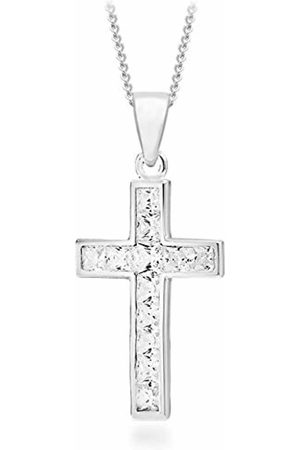 """Tuscany Silver Sterling Cubic Zirconia Cross Pendant on Curb Chain of 46cm/18"""""""