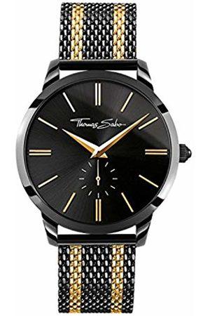 Thomas Sabo Men Men's Watch Rebel Spirit Stainless Steel Ion-Plated Mesh Bracelet with -Coloured Stripes WA0281-284-203