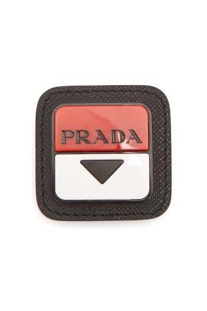 Prada Logo-plaque Leather Brooch - Mens