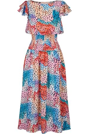 Traffic People Whispers Watercolour Midi Dress In Multicoloured