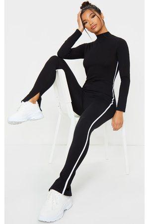 PRETTYLITTLETHING Sports Stripe High Neck Jumpsuit
