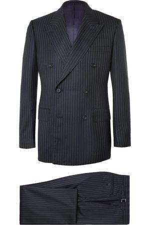 KINGSMAN Men Suits - Harry's Navy Pinstriped Super 120s Wool Suit