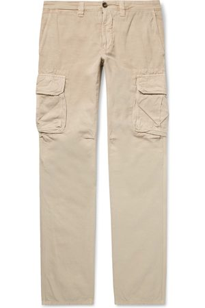 Incotex Men Cargo Trousers - Slim-fit Cotton And Linen-blend Cargo Trousers