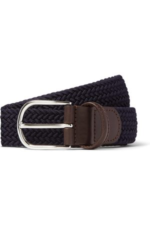 Anderson's Men Belts - 3.5cm Black Leather-trimmed Woven Elastic Belt