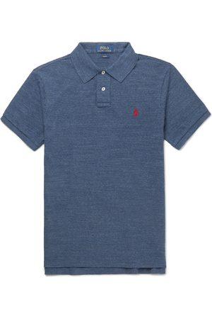 Polo Ralph Lauren Men Polo Shirts - Slim-fit Mélange Cotton-piqué Polo Shirt